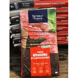 Sac de terreau géraniums et plantes fleuries 40L